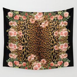 Rose around the Leopard Wall Tapestry