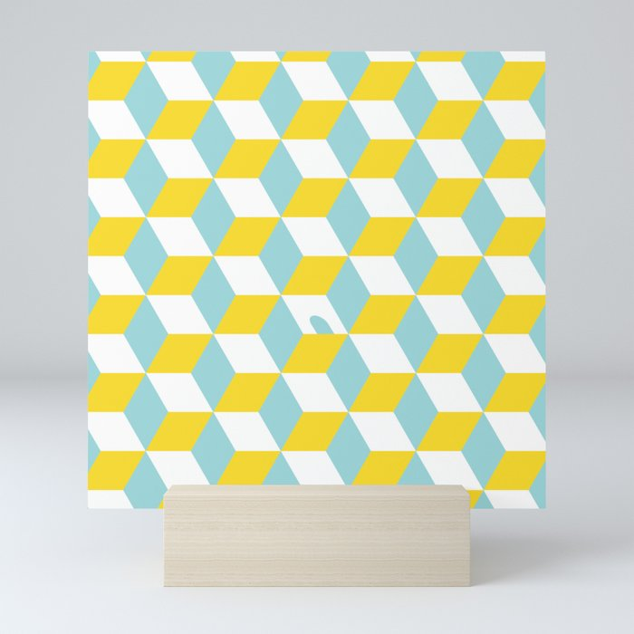 Cubes with Doorway Pattern ~ limpet shell blue Mini Art Print by  tinyspinycactus