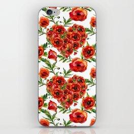 Poppy Heart pattern iPhone Skin