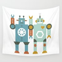 robots Wall Tapestries featuring robots by Mr. Morris can Meow!