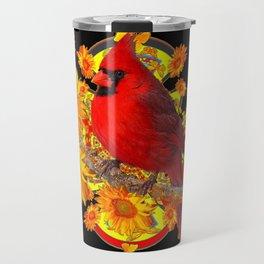 BUTTERFLIES  RED CARDINAL SUNFLOWERS BLACK ART Travel Mug