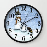 snowman Wall Clocks featuring Snowman by Anna Shell