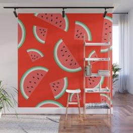 Watermelon Summer Pattern - orange Wall Mural