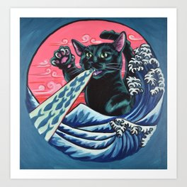 Catzilla with tuna breath Art Print