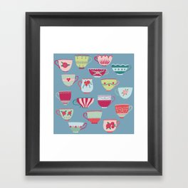 China Teacups on Teal Framed Art Print