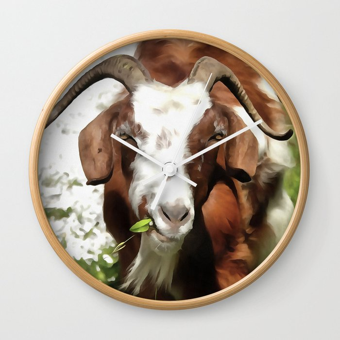 Portrait of a Horned Goat  Wall Clock