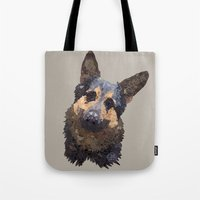 german Tote Bags featuring German Shepherd by ArtLovePassion