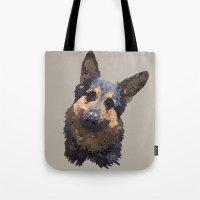 german shepherd Tote Bags featuring German Shepherd by ArtLovePassion