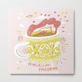 Mug on fire Metal Print