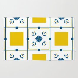 Talavera, blue and yellow flowers Rug