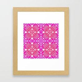 Tribal Tiles (PINK) Abstract Vibrant Geometric Shapes Pattern Design Framed Art Print