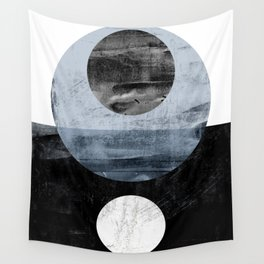 Circles Black and White Geometric Mid-Century Modern Abstract Wall Tapestry