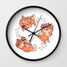 Flower Doges Wall Clock