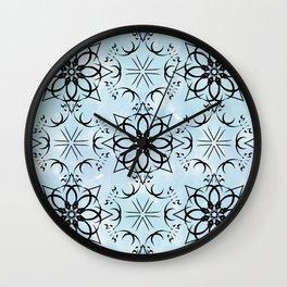 Black fishnet pattern on blue sky background. Wall Clock