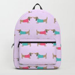 Cute dog lovers in pink background Backpack