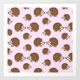 Cute little brown hedgehogs in pink love Art Print