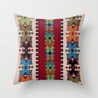 kilim Throw Pillows featuring Kilim pattern 026 by Ranka Stevic