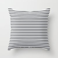ysl Throw Pillows featuring Sailor Stripes Black & White by Julie's Fabrics & Thingummies