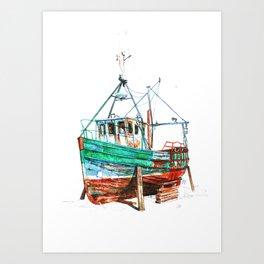 Desert boat Art Print