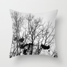 Blackbird | Black, White and Grey Bird in the Tree Silhouette Photography Throw Pillow