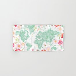 Mint green and hot pink watercolor world map with cities Hand & Bath Towel