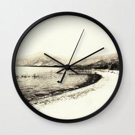Minimal monochrome lakescape shore Wall Clock