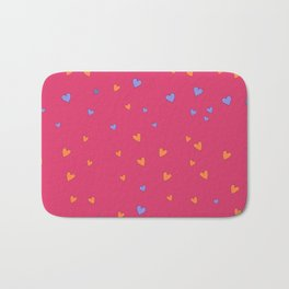 St. Valentine's Day Pattern. Pink pattern, blue and yellow hearts Bath Mat