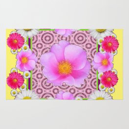 Floral Abundance yellow color fuchsia Shasta Daisy Pink Roses Abstract Ar Rug