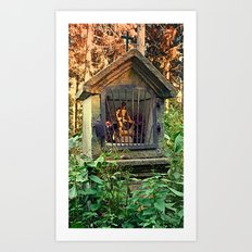 Ancient forest worker monument | architectural photography Art Print