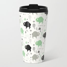 Seamless pattern with cute baby buffaloes and native American symbols, white Travel Mug