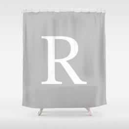 Silver Gray Basic Monogram R Shower Curtain