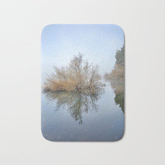 """Foggy Morning At The Lake"". Magic sunrise Bath Mat"
