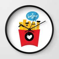 french Wall Clocks featuring French Fries by Reg Silva / Wedgienet.net