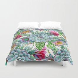 Exotic flower garden Duvet Cover