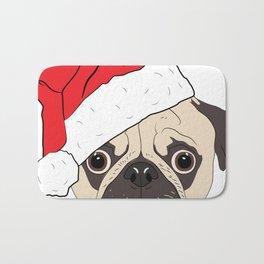 Christmas pug, festive dog vector Bath Mat