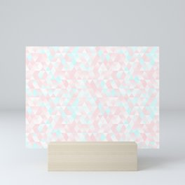 Pastel Millennial Pink Teal Triangle Ombre Geometric Cute Pattern Mini Art Print