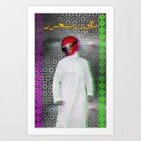 power ranger Art Prints featuring Arab power ranger  by Bothayna Al Zaman