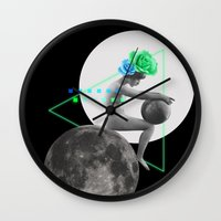 moonrise Wall Clocks featuring Moonrise by Manuja Waldia