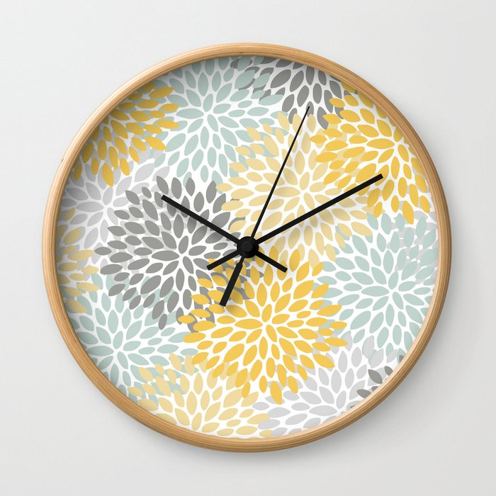Floral Pattern, Yellow, Pale, Aqua, Blue and Gray Wall Clock