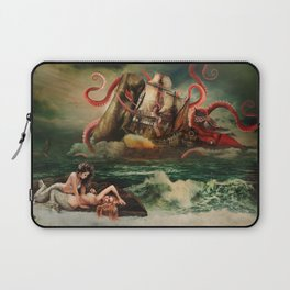 Remarkable neoclassical battle: Squid vs Whale vs 18 century American armed cargo ship Laptop Sleeve
