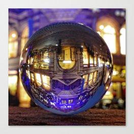 Winter scene through the crystal ball  / Glass Ball Photography Canvas Print