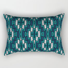 Tribal Diamond Pattern in Navy, Teal and Gray Rectangular Pillow