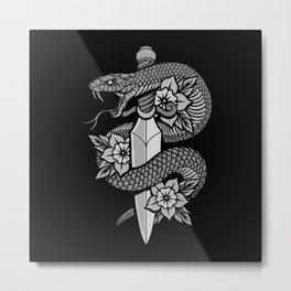 Snake & Dagger Metal Print