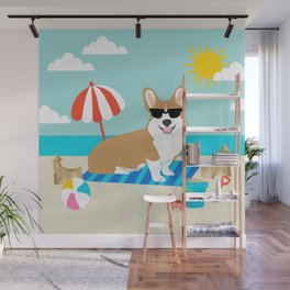 Corgi Summer Beach Day Sandcastles Dog Art Wall Mural