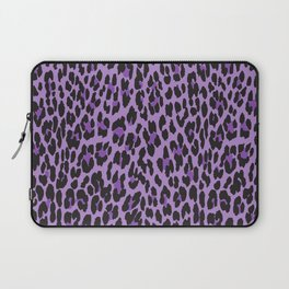 Animal Print, Spotted Leopard - Purple Black Laptop Sleeve