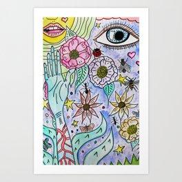 Bug Eyed Flowers Art Print