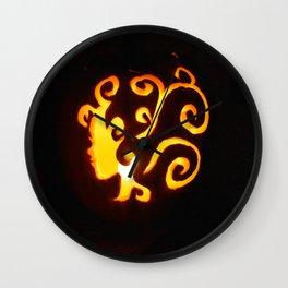 Pretty Lady Carved Pumpkin Wall Clock