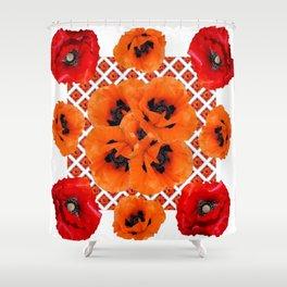 DECORATIVE RED & ORANGE POPPY FLOWERS PATTERN ART Shower Curtain
