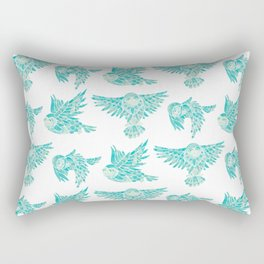 Owls in Flight – Turquoise Palette Rectangular Pillow