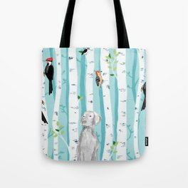 WEIMARANER AND WOODPECKERS Tote Bag